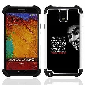 Dragon Case- Dise?¡Ào de doble capa pata de cabra Tuff Impacto Armor h??brido de goma suave de silicona cubierta d FOR Samsung Galaxy Note3 N9000 N9008V N9009- QUOTE MASCULINE FREEDOM MAN JUSTICE EQUALITY