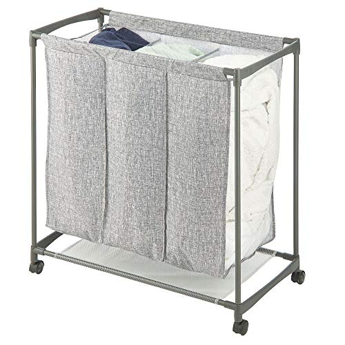 mDesign Divided Laundry Hamper Basket with Wheels,3 Divided Section, Portable for Compact Storage – Steel Frame and…