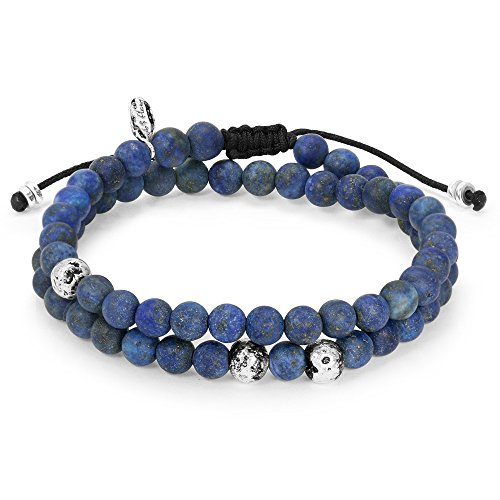 Mens Bracelet – 2 Layer Bracelet with Blue Lapis Matte Gemstone Beads & 925 Sterling Silver Plated Beads – Exclusive Galaxy Blue – Handmade by Ebb & Flow Jewelry Unique ()