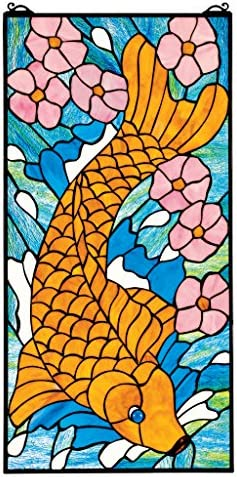 Stained Glass Panel – Asian Koi Fish Stained Glass Window Hangings – Window Treatments