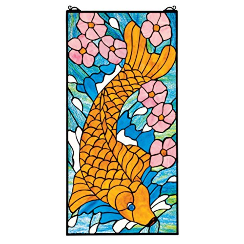 Stained Glass Panel - Asian Koi Fish Stained Glass Window Hangings - Window Treatments