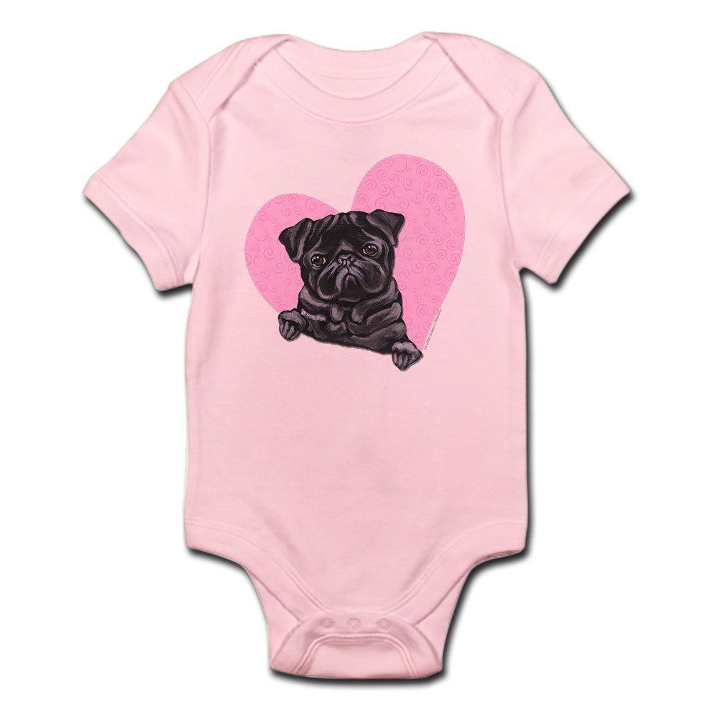 f47709488 CafePress - Black Pug Pink Heart - Cute Infant Bodysuit Baby Romper ...