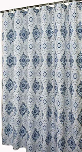 Welwo Bathroom Shower Curtain with Hooks Set - Extra Long 72 x 84, Blue White, Paisley