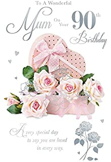 To A Wonderful Mum On Your 90th Birthday Rose Box Design Happy Card