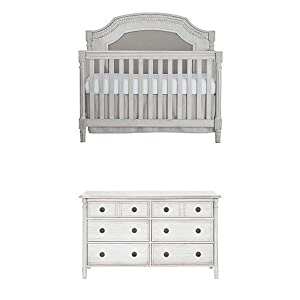 Evolur Julienne 5 in 1 Convertible Crib, Antique Grey Mist with Double Dresser