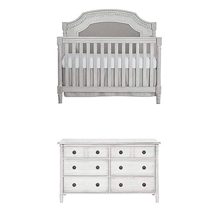 Evolur Julienne 5 in 1 Convertible Crib, Antique Grey Mist with Double Dresser