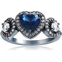 khamchanot Noble Jewelry Sapphire& White 10K Black Gold wedding rings women size6-10 (8)