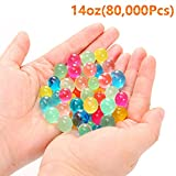 XIN YKY 80,000 Pcs Water Beads Rainbow Mix Crystal Soil Jelly Water Growing Balls for Kids Tactile Sensory Toys, Vases, Plants, Wedding, Party and Home Decoration, 14oz