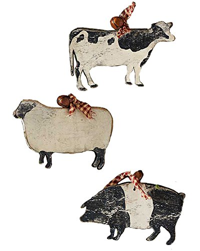 Large Wooden Farm Animal Shaped Ornaments with Rustic Bell Set of 3, 6
