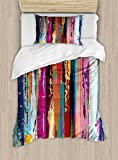 Ambesonne Abstract Duvet Cover Set Twin Size, Multicolored Expressionist Work of Art Vibrant Rainbow Design Tainted Pattern, Decorative 2 Piece Bedding Set with 1 Pillow Sham, Multicolor