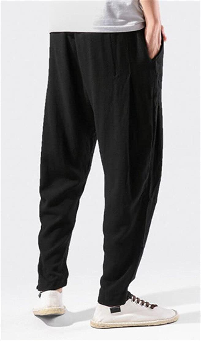 Spirio Mens Drawstring Classic Linen Jogger Chinese Style Harem Pants
