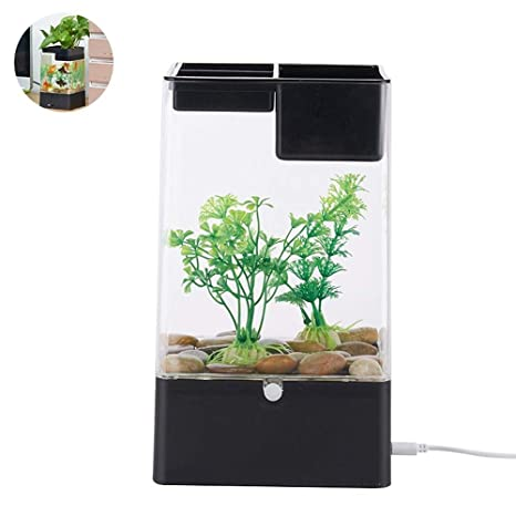 Aquaponic Betta Fish Tank, Mini Water Garden Fish Tank con Luces De Colores LED,