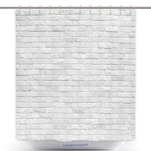 Fun Shower Curtains White Brick Wall For Background 314255909 Polyester Bathroom Shower Curtain Set With Hooks