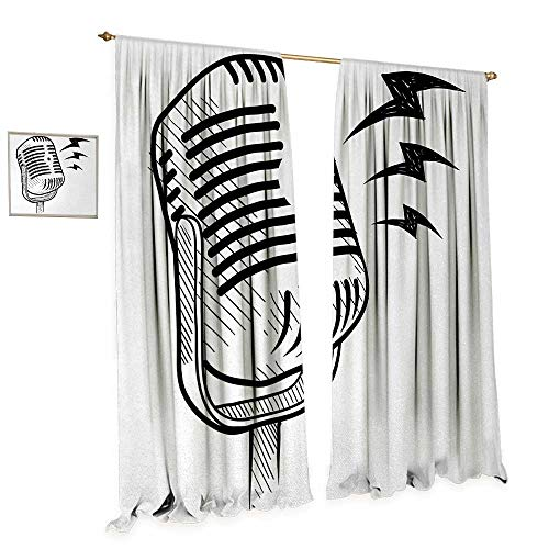 Anniutwo Doodle Patterned Drape for Glass Door Retro Microphone Communication and Media Concept Radio Show Speech Talk Podcast Waterproof Window Curtain W120 x L84 Black - Radio And Microphone Frozen