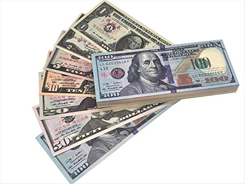 Prop Money Full Print 2 Sided 140PCS Motion Picture Money Set of:$1,$2, $5, $10, $20, $50, $100 Realistic Money Stacks,Copy Money Play Money That Looks Real for Movie, Birthday Party