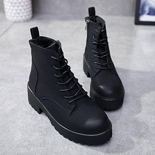 KPHY-Martin Wet and Wild botas de invierno más cálido terciopelo algodón grueso de primavera y otoño zapatos botas botas hembra negro 39