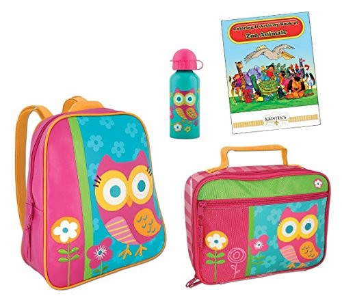 Stephen Joseph Go Go Backpack  Lunch Box  Bottle   Coloring Book  Teal Owl