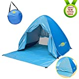 Monojoy Automatic Pop Up Beach Tent Instant Portable Outdoor Quick Cabana Anti UV Sun Shelter Folding Beach Shade Canopy 2-3 Person Easy Up Beach Tents Lightweight for Hiking Camping (Blue)