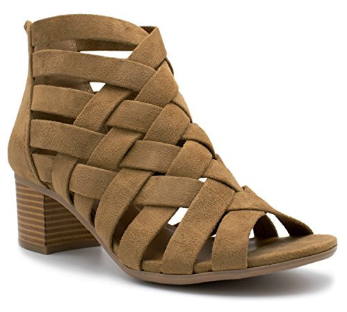 (MVE Shoes Dress Sandal Chunky Heel Over Toe & Ankle Wrap Tie Front Strap Natural 7)
