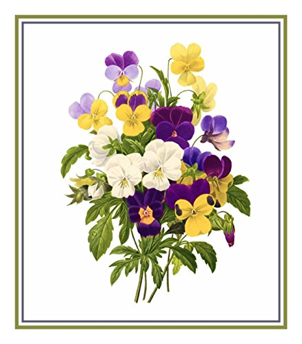 Orenco Originals Pansy Bouquet Flower by Redoute Counted Cross Stitch Pattern ()