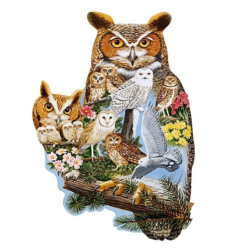 Bits and Pieces - 750 Piece Shaped Puzzle - The Watchers, Owl - by Artist Jack Williams - 750 pc -