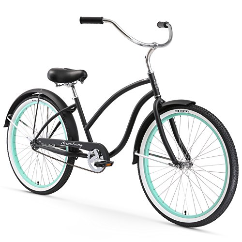 Firmstrong Chief Lady Single Speed Beach Cruiser Bicycle, 26-Inch, Matte Black/Green Rims