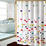Polka Dot Shower Curtain Eforcurtain 100% Polyester Colorful Polka Dots Waterproof/Mildew Proof Fabric Shower Curtain Multi Color/White, 72 By 72 Inch