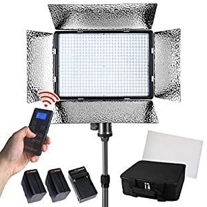 Photo Doctor LED Video Lighting - Dimmable Bi Color Continuous Studio Light Panel for YouTube & Vlogging! Portable Photography Lights with 2 Rechargeable Batteries and Wireless Output Remote Controls!