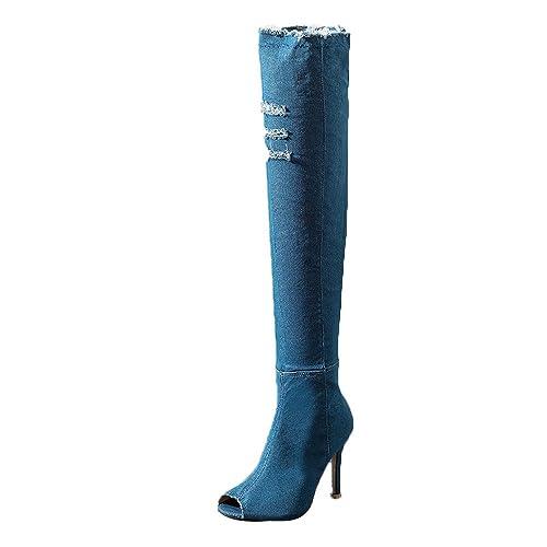 sezione speciale 100% di alta qualità colore n brillante Miss Fortan Donna Stiletto Coscia Alta Piattaforma Arco ...