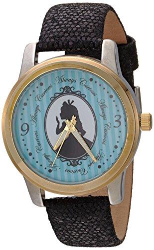 - DISNEY Women's Alice Analog-Quartz Watch with Leather-Synthetic Strap, Black, 18 (Model: WDS000356)