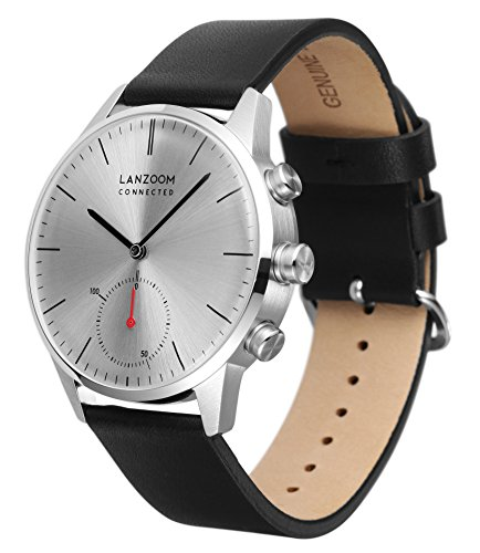 LANZOOM Series Weser Mens Wristwatch Multifunction Android iOS Quartz Smart Watch 5ATM Water Resistant Best Gift For Him (White + Black) by LANZOOM