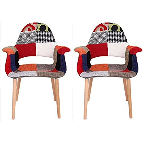 Ordinaire Creation Yusheng Upholstered Comfortable Modern Organic Arm Chair Accent  Chair With Wooden Legs, Pathwork, Set Of 2