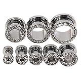 PiercingJ 3-14mm Punk Rhinestone Crystal Screw Tunnels Ear Expander Stretch Plugs Piercing Gauge (2g=6mm Clear White)
