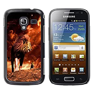 Qstar Arte & diseño plástico duro Fundas Cover Cubre Hard Case Cover para Samsung Galaxy Ace 2 I8160 / Ace2 II XS7560M ( Lion Mane Golden Sahara Africa Powerful)