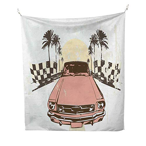 GrungetapestryOld Fashioned Car Auto Sport Checkers Palms Sun Retro Road Racing Speed 40W x 60L inch Wall tapestryCoral Mint Green Yellow