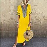 Shusuen Women Bohemian Casual Loose Vintage Printed Ethnic Style Summer Shift Dress Short Sleeve Split Maxi Tunics Yellow