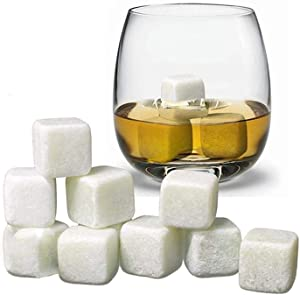 Whiskey Stones Set Box of 9 Chilling Rocks, 100% Pure Soapstone for Cold Whiskey Beverages Best Gift (white)