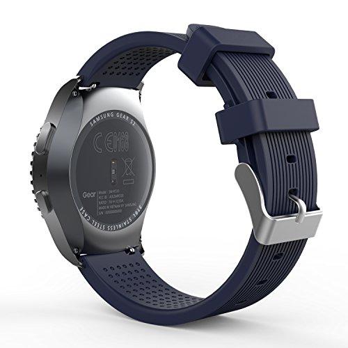 MoKo Band Compatible with Samsung Gear S2 Classic/Galaxy Watch 42mm/Galaxy Watch Active/Gear Sport SM-R600/Garmin Vivoactive 3/Ticwatch 2, Soft Silicone Watch Strap - Midnight Blue