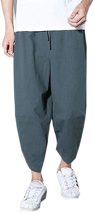 Pantalones Nueve Puntos Pantalón Ancho Pantalones Moda Hombres Hombres Bastante Pantalones Sueltos Bolsillos Algodón Lino Pantalones Largos Y Casuales: Amazon.es: Ropa y accesorios