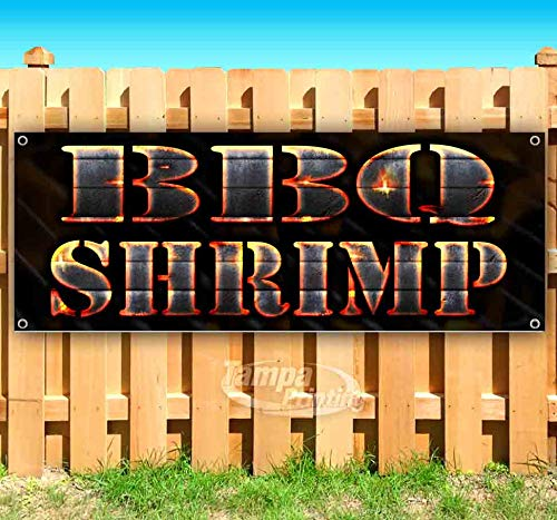 BBQ Shrimp 13 oz Heavy Duty Vinyl Banner Sign with Metal Grommets, New, Store, Advertising, Flag, (Many Sizes Available)