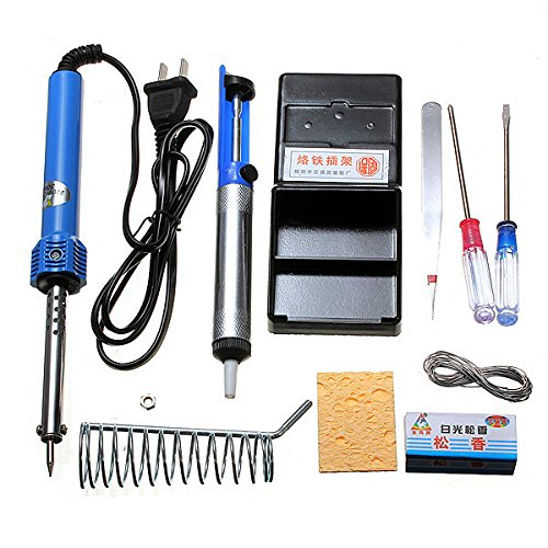 Hiquty 9 in1 DIY Electric Solder Starter Tool Set With Iron Stand Desolder Pump