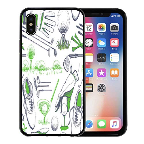Emvency Phone Case for Apple iPhone Xs Case/iPhone X Case,White Hand Golf Basket Shoes Car Putter Ball Gloves Soft Rubber Border Decorative, Black