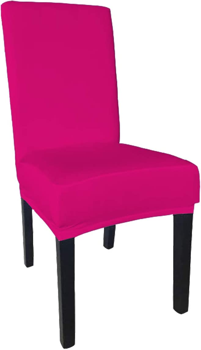 She Yang Spandex Fabric Stretch Removable Washable Dining Room Chair Cover Protector Seat Slipcovers Set of 4 (Fushia, 4)