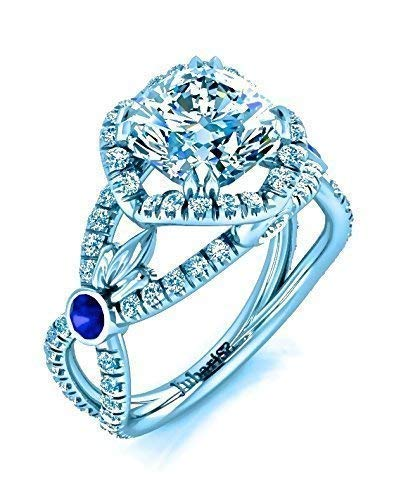 2.50 Ctw Cushion Cut Engagement Ring Halo F-G Foliage Platinum Diamond & Blue Sapphire Bezel Custom Handmade Jubariss Designer Fine Jewelry