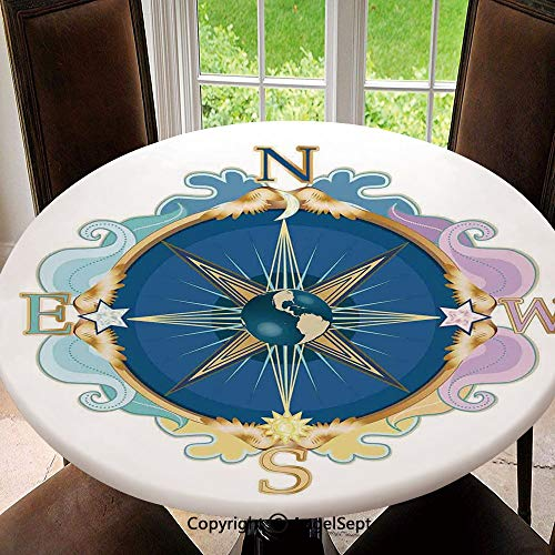 SfeatruAngel Polyester Fabric Elastic Edged Tablecloth,Stylized Compass Navigation Theme Orientation Showing North South East West Soil Resistant Holiday Tablecloth, 47 Inch Round,Pink Blue Golden -