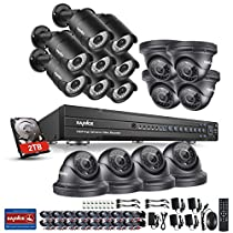 SANNCE 16CH HD 1080P DVR Recorder CCTV Camera System with 2 TB Surveillance Hard Drive and (16) 1080P Indoor/Outdoor Weatherproof Security Cameras, Smart Email Alert with Image, Smart Video Playback