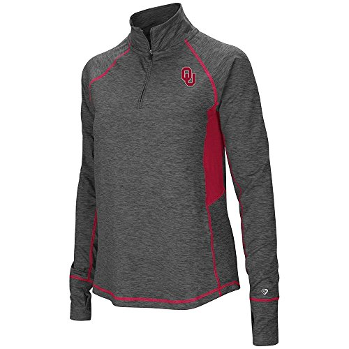 Oklahoma Long Sleeve Embroidered (Colosseum Womens Oklahoma Sooners Quarter Zip Pull-over Long Sleeve Shirt - S with Personalized Name Embroidered)