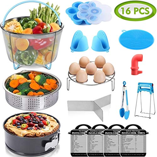 (16 Pcs Instant Pot Accessories Set Fits 6,8Qt - 2 Steamer Baskets, Non-stick Springform Pan, Egg/Steamer Rack, Egg Bites Mold, Tong, Mitts, Magnetic Cheat Sheets, Steam Release, Sponge, PerfeCome)