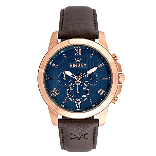 AIMANT-Mens-Kent-Rose-Gold-with-Brown-Leather-Band-Watch-GKE-100L5-2RG