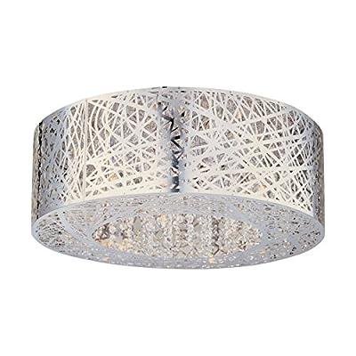 "Bird Nest Flush Mount Pendant Chandelier Lamp Drum Inca Laser Cut Shade Crystal Inside Dia 20"" H 9"""